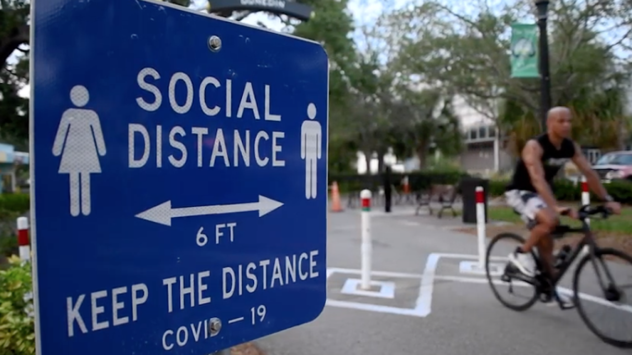Social Distancing Sign from Pinellas County