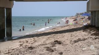 Beachgoers at Lake Worth Beach, June 29, 2020