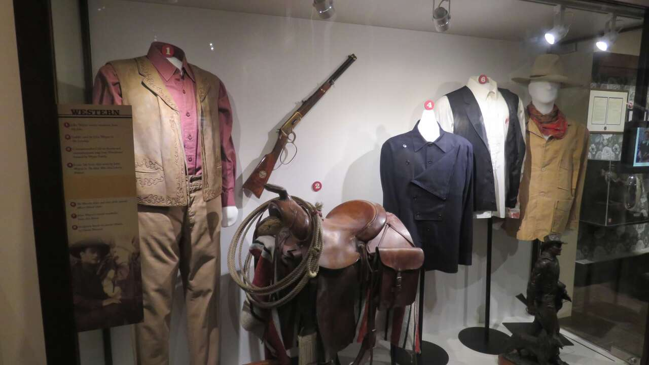 Costume and prop exhibit at the John Wayne Birthplace Museum
