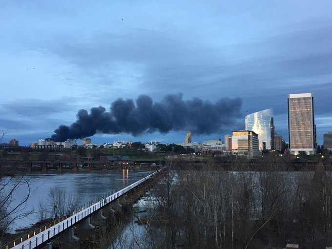Smoke was visible from the Manchester rock wall