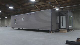 An example of an indieDwell modular shipping container home at the facility in Pueblo.