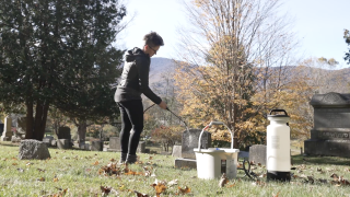 cleaning tombstone