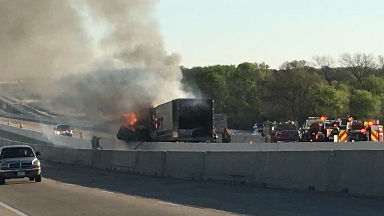 Major traffic delays after truck catches fire on I-35
