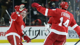 Robby Fabbri celebrates with Tyler Bertuzzi