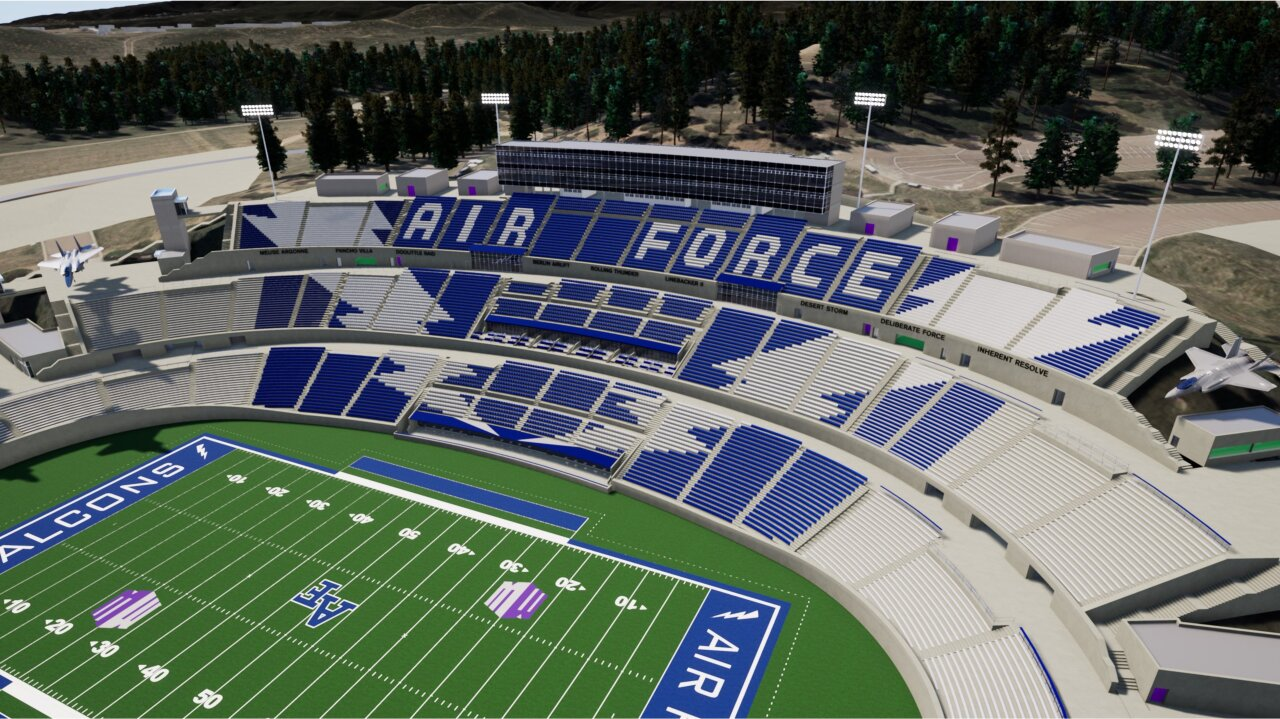 Rendering of the west side of Falcon Stadium