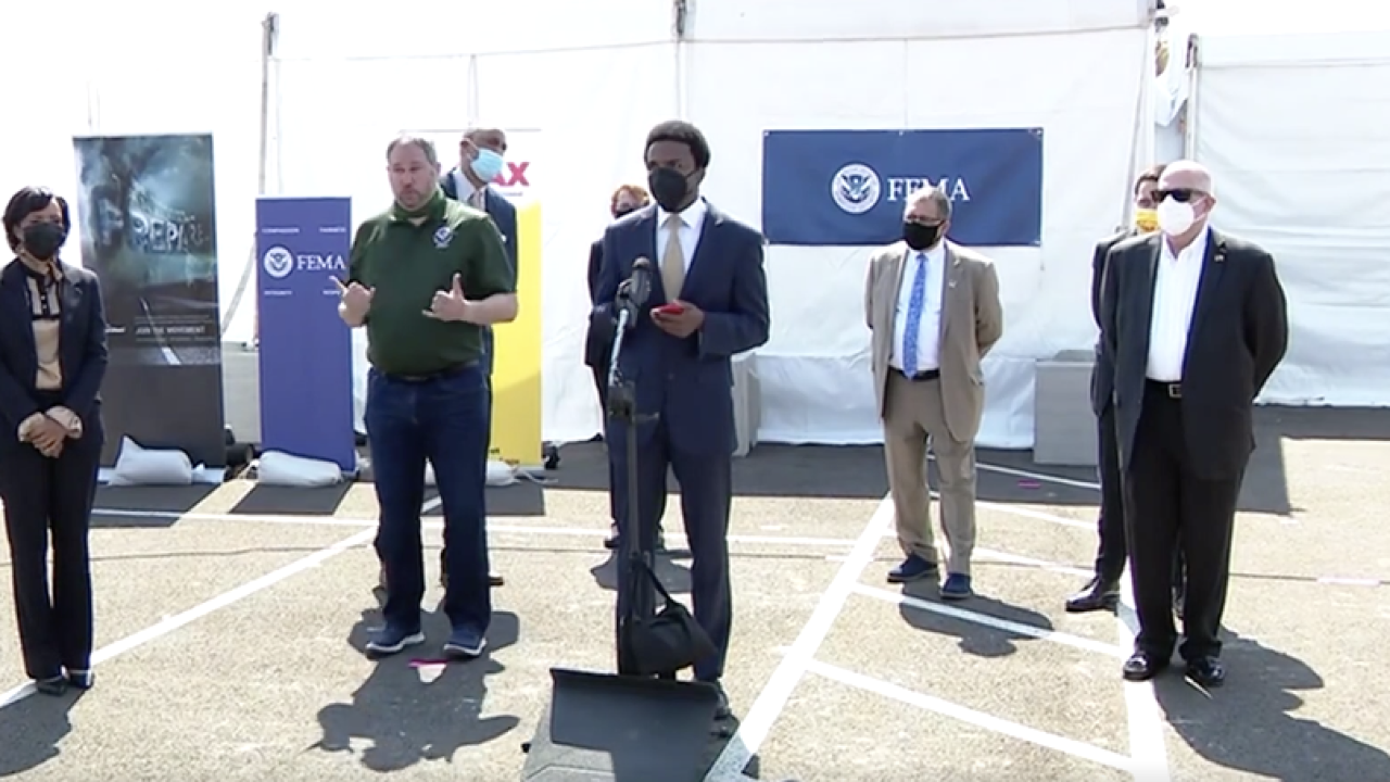 Greenbelt Mayor Colin Byrd criticizes Governor Larry Hogan during visit to FEMA vaccination site