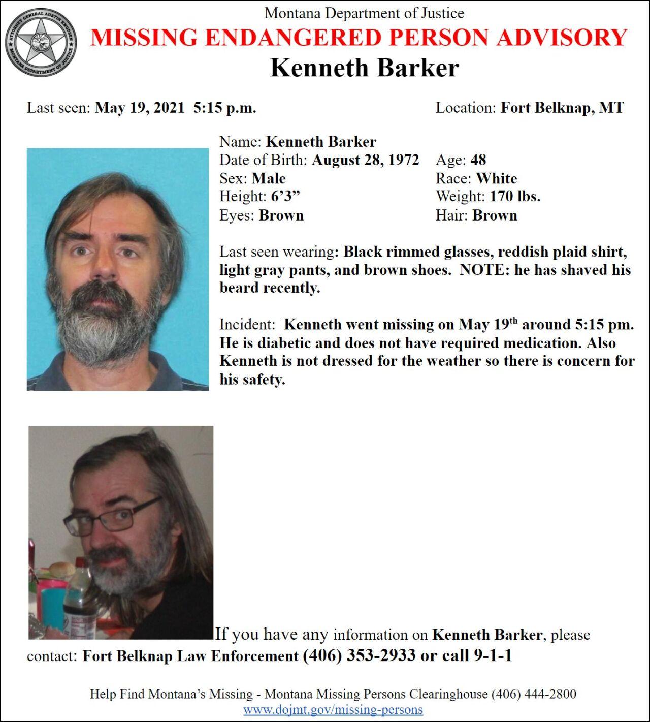 Missing-Endangered Person Advisory for Kenneth Barker