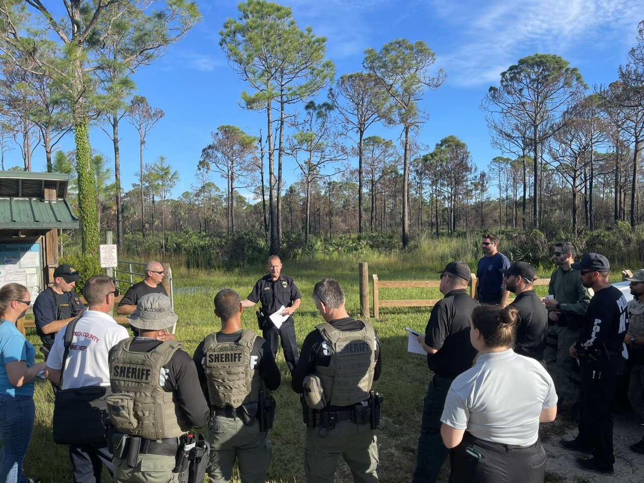 authorities gather before search for Brian Laundrie at T. Mabry Carlton Jr. Memorial Reserve