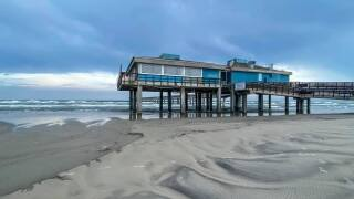 The calm after storms at Bob Hall Pier - Photo By: FB Coastal Bend Weather Watcher Lu Ann Kingsbury