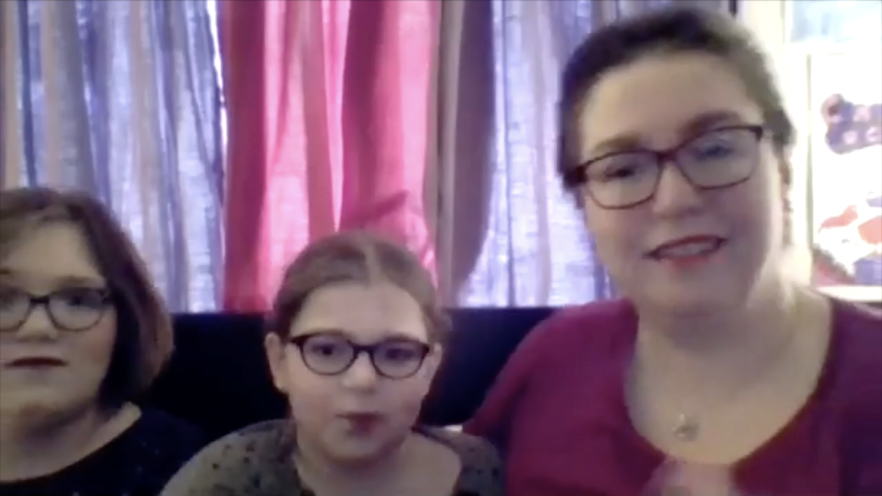 Nicki, Briella and Kim Chambers, as depicted in this screenshot of a video conference call with WCPO, speak about the two transgender sisters' experiences with remote learning during the COVID-19 pandemic, Feb. 23, 2021.