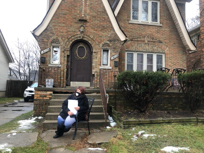 Alita Crowley outside her home in Detroit in December 2020.