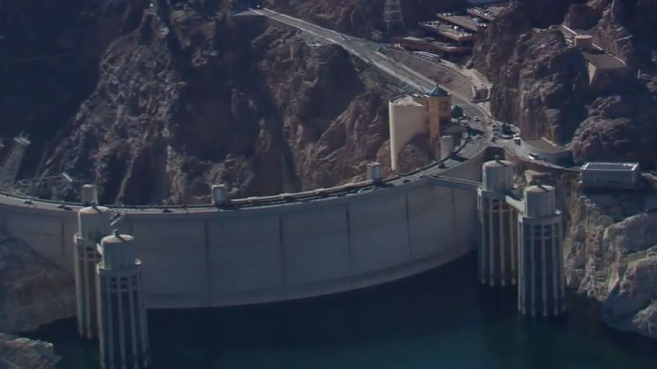 This is an aerial picture of the Hoover dam which creates Lake Mead