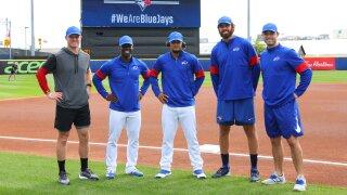 Blue Jays wear Bills gear