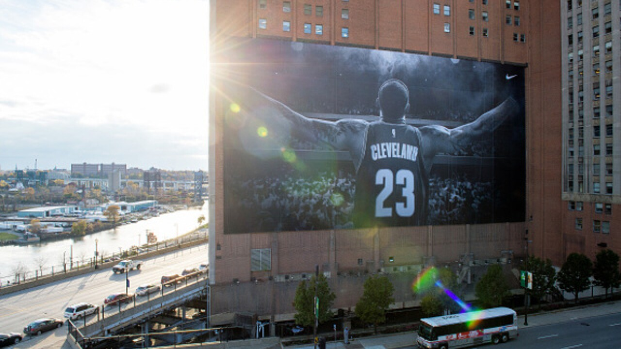 The iconic LeBron James banner is coming down