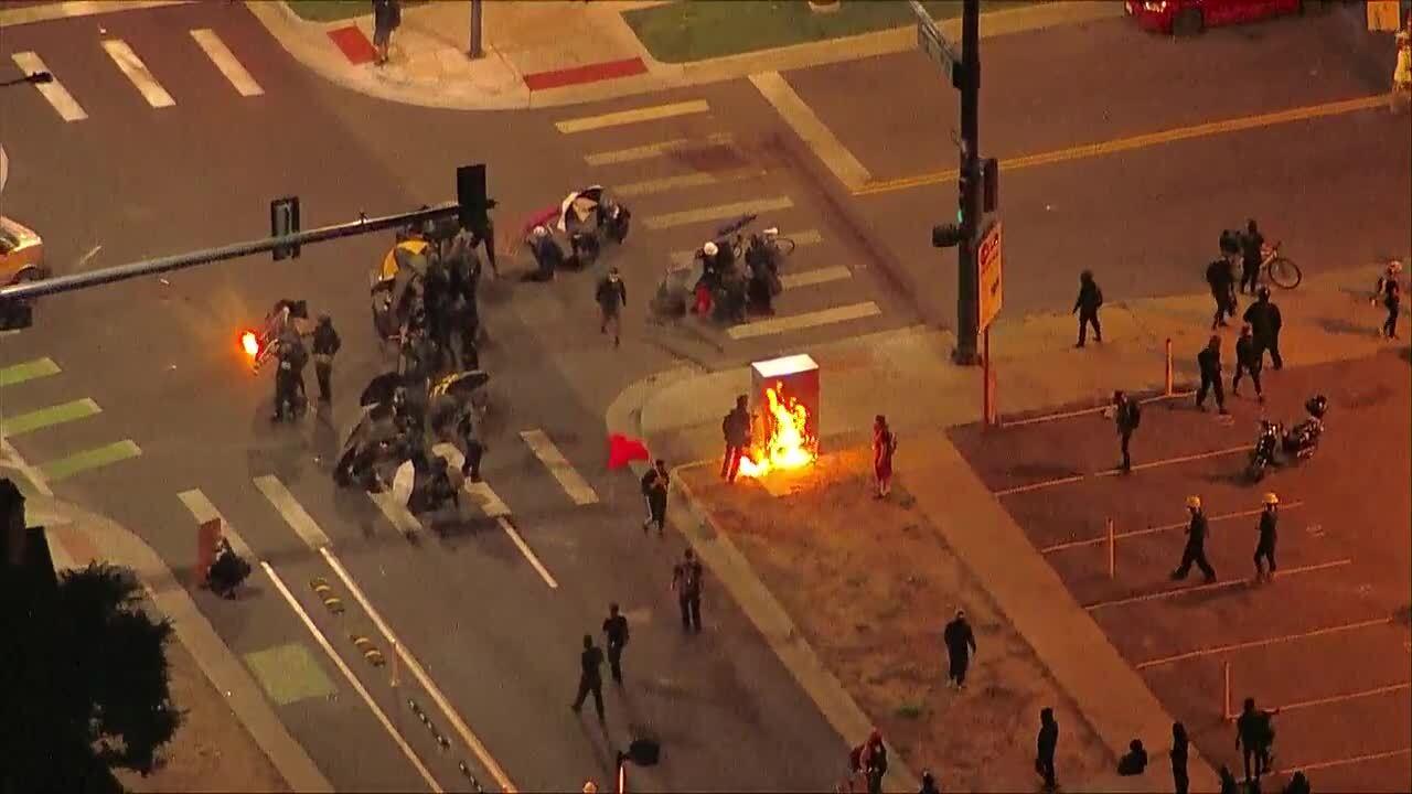 People break windows, start fires in downtown Denver Saturday night; 8 arrested