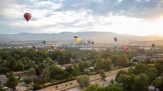 Hot air balloons across Boise skyline