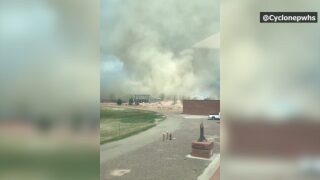 Gustnado swirls across Pueblo West High School campus