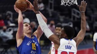 Nikola Jokic, Tyler Cook Nuggets Pistons Basketball