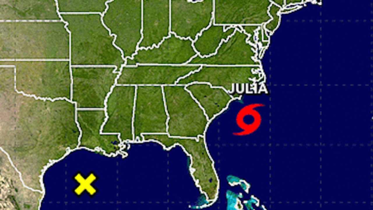 Tropical Storm Julia strengthens off Carolina coast