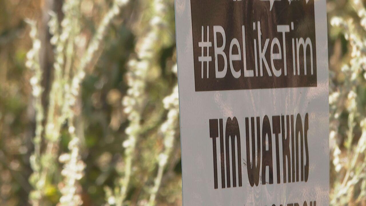 Tim Watkins' memorial sign