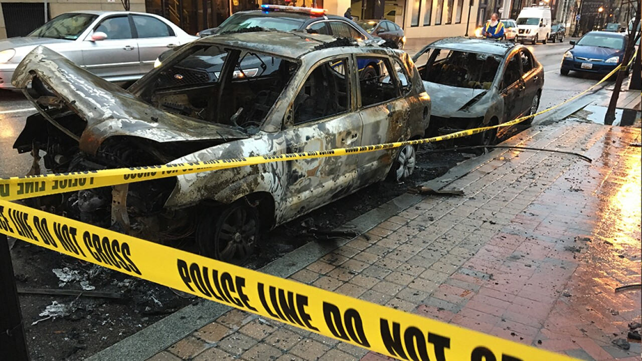 10 cars catch fire in a single Baltimore neighborhood, police searching for suspects