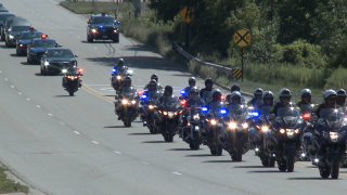 Hundreds of police cruisers help lead procession for Trooper Caleb Starr