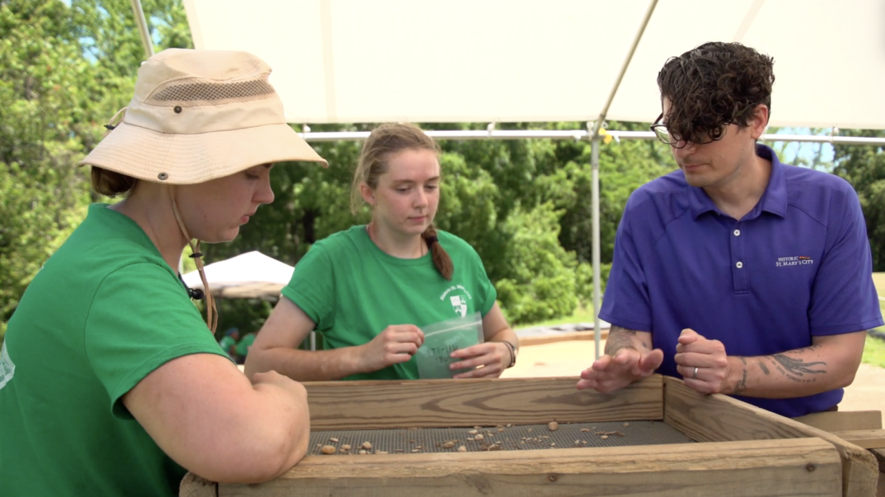 Every summer, students from around the country come to Historic St Mary's City, to learn from professional archaeologists the tools of the trade. Dr. Travis Parno (right) leads the students in digging and finding artifacts in Historic St. Mary's City, which date back thousands of years - in the case of Native American artifacts - and back to the 1600s - in the case of early European settlers in the area.