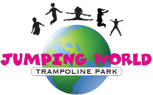 Logo for Jumping World Trampoline Park, showing several children jumping above a globe.