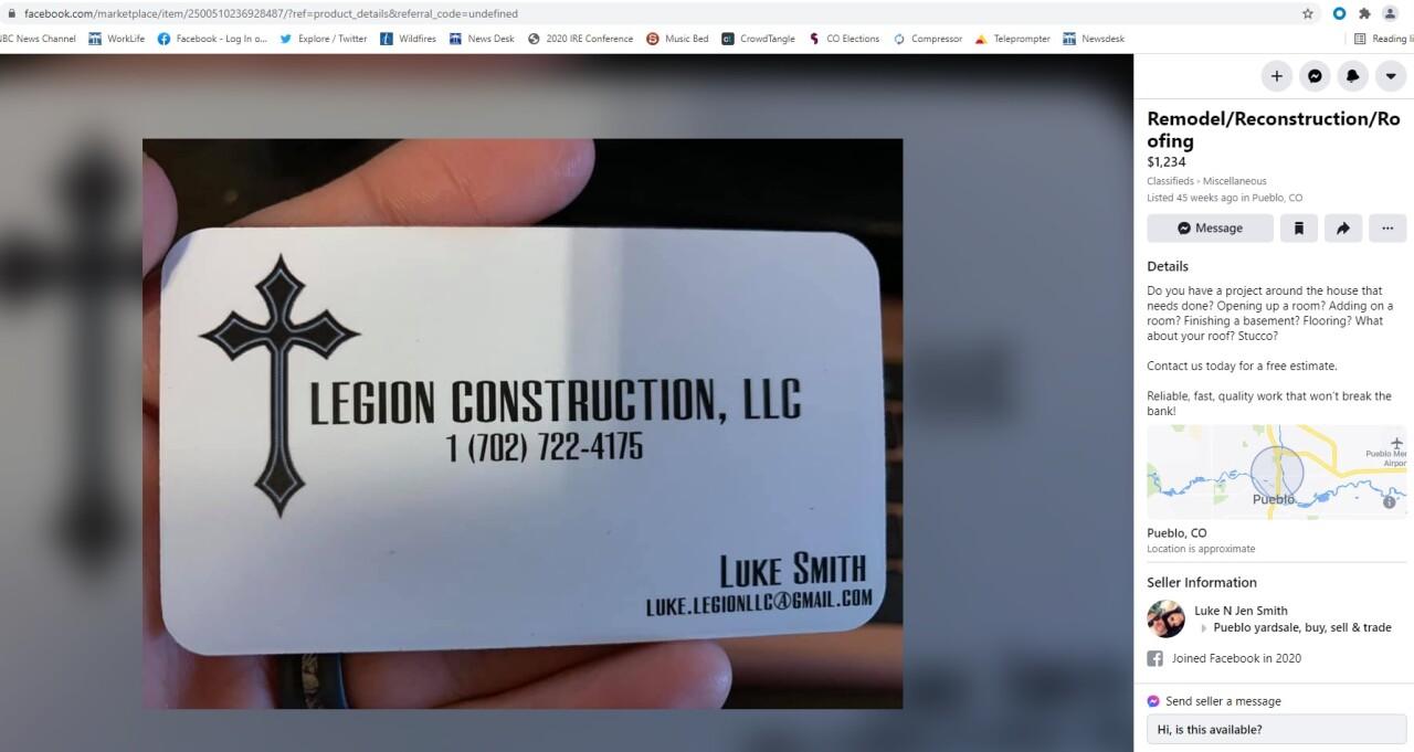 Legion Construction Facebook Advertisement
