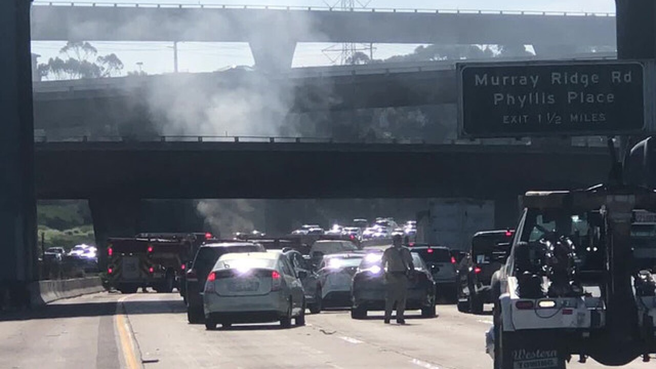 Southbound I-805 closed due to truck fire