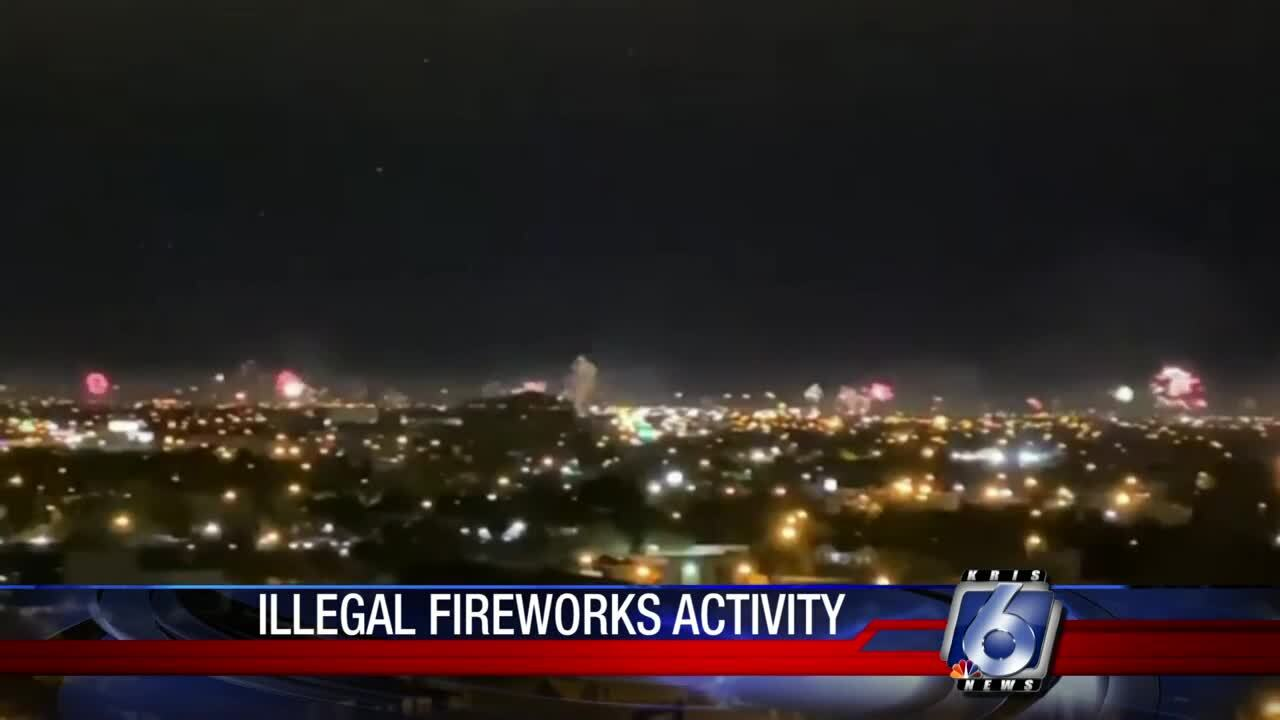 Illegal fireworks across city at midnight