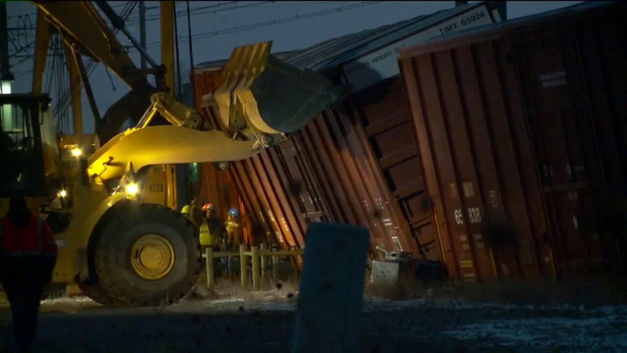 Freight train derails in West Jordan blocking TRAX line