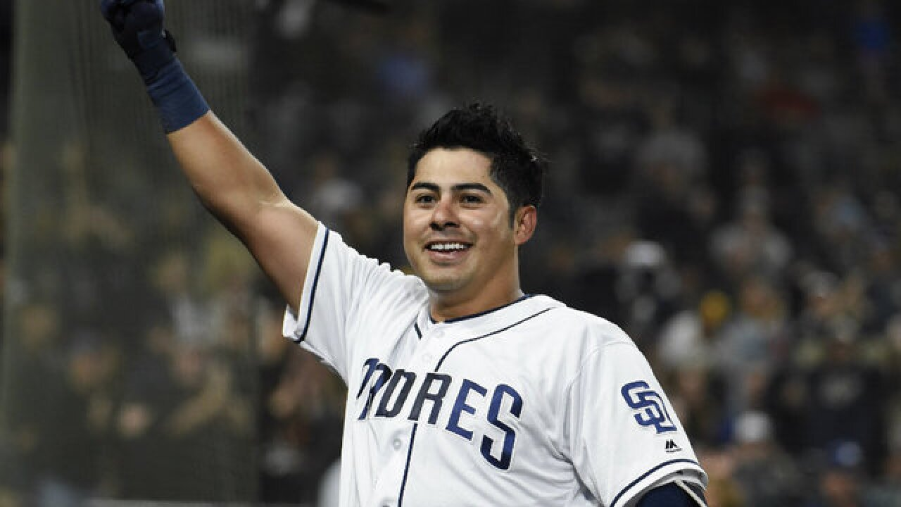 Rookie Christian Villanueva hits 3 homers, Padres get 1st win of 2018