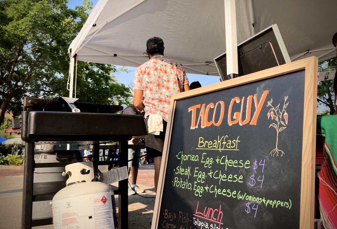 Taco Guy slings tacos at the Missoula Farmers Market by the X's