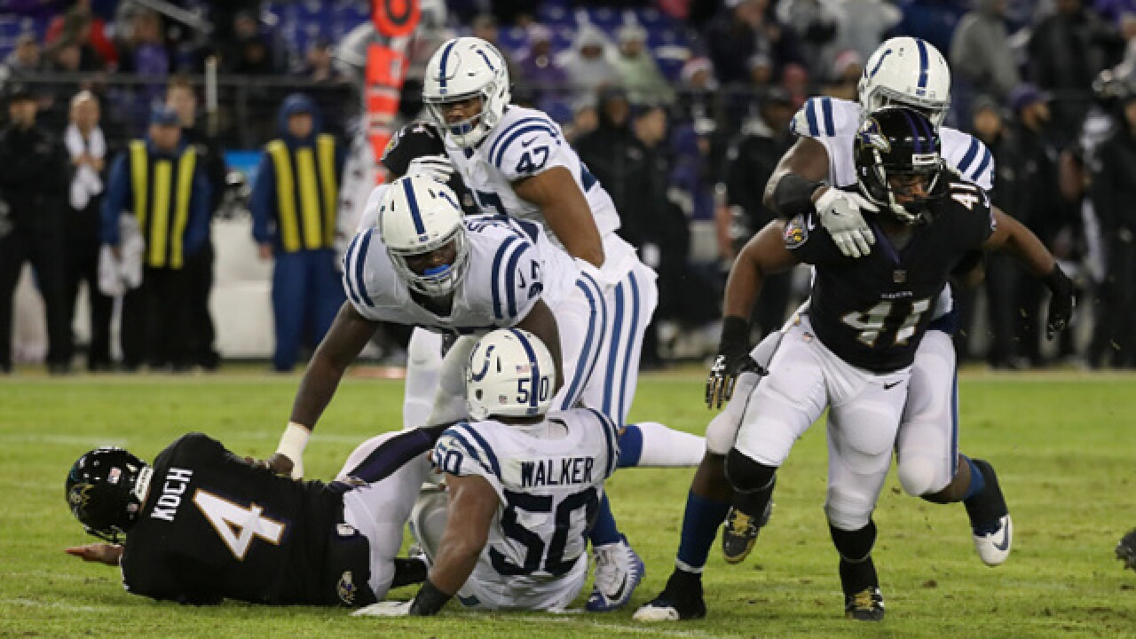 Colts suffer sixth loss in a row, fall to Ravens 23 - 16