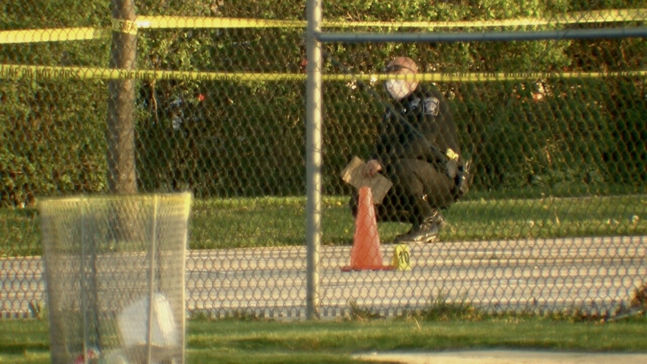 Investigators mark evidence  at Dineen Park
