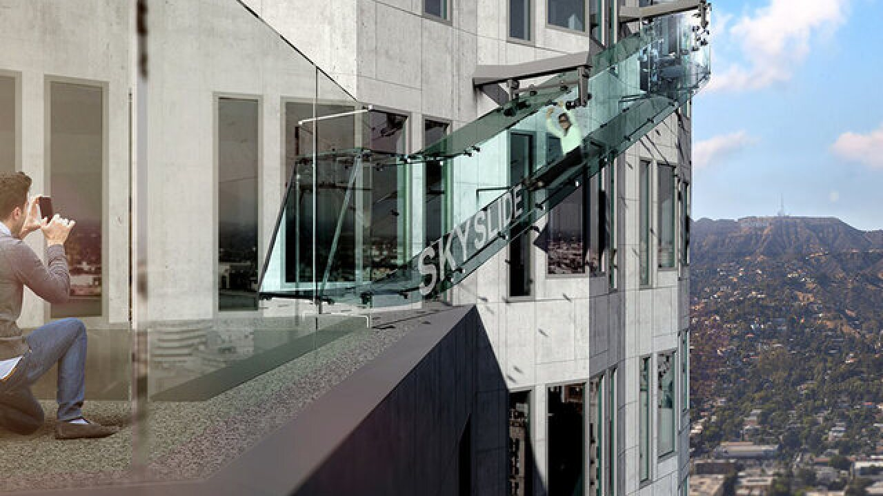 Take a ride on a glass slide on an LA high rise