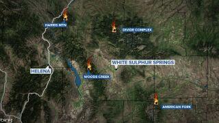 Several large fires burning
