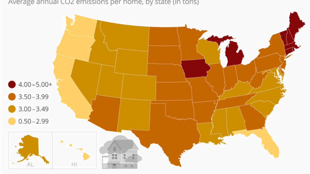 Which states have the biggest carbon footprint per home? on