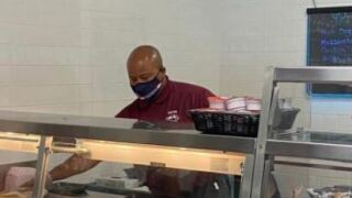 Principal Corey Brooks Serving Lunch to Students 092021