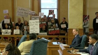 Slaughterhouse protest at council meeting
