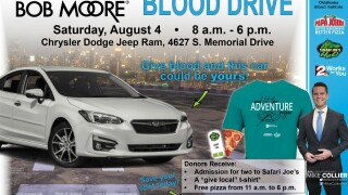 OBI blood drive August 4 at Bob Moore Chrysler Dodge Jeep Ram in Tulsa for chance to win a new car