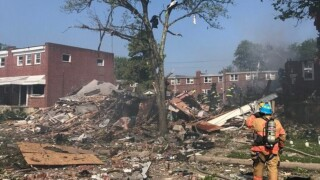 Several trapped after explosion demolishes homes in Baltimore