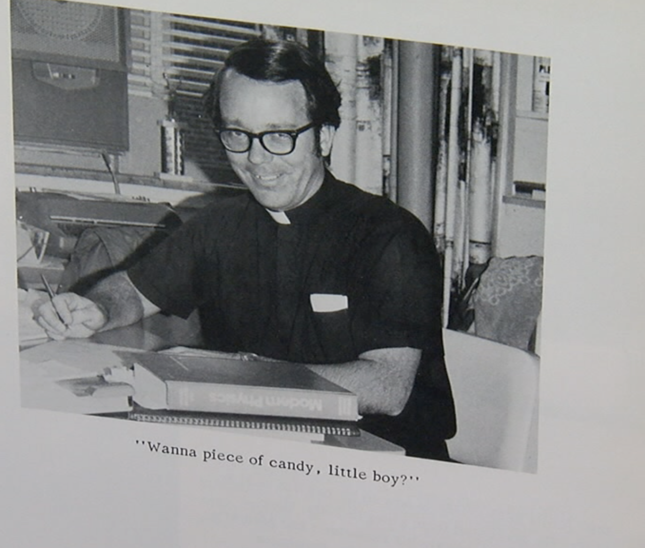 Former priest and principal Tom Kuhn at Elder High School.