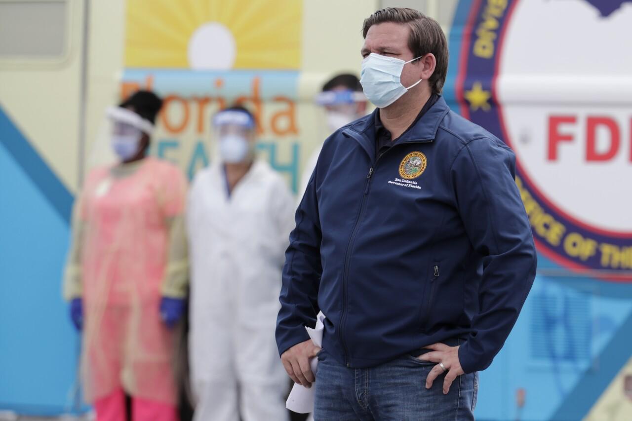 Gov. Ron DeSantis wears mask at Hard Rock Stadium coronavirus testing site