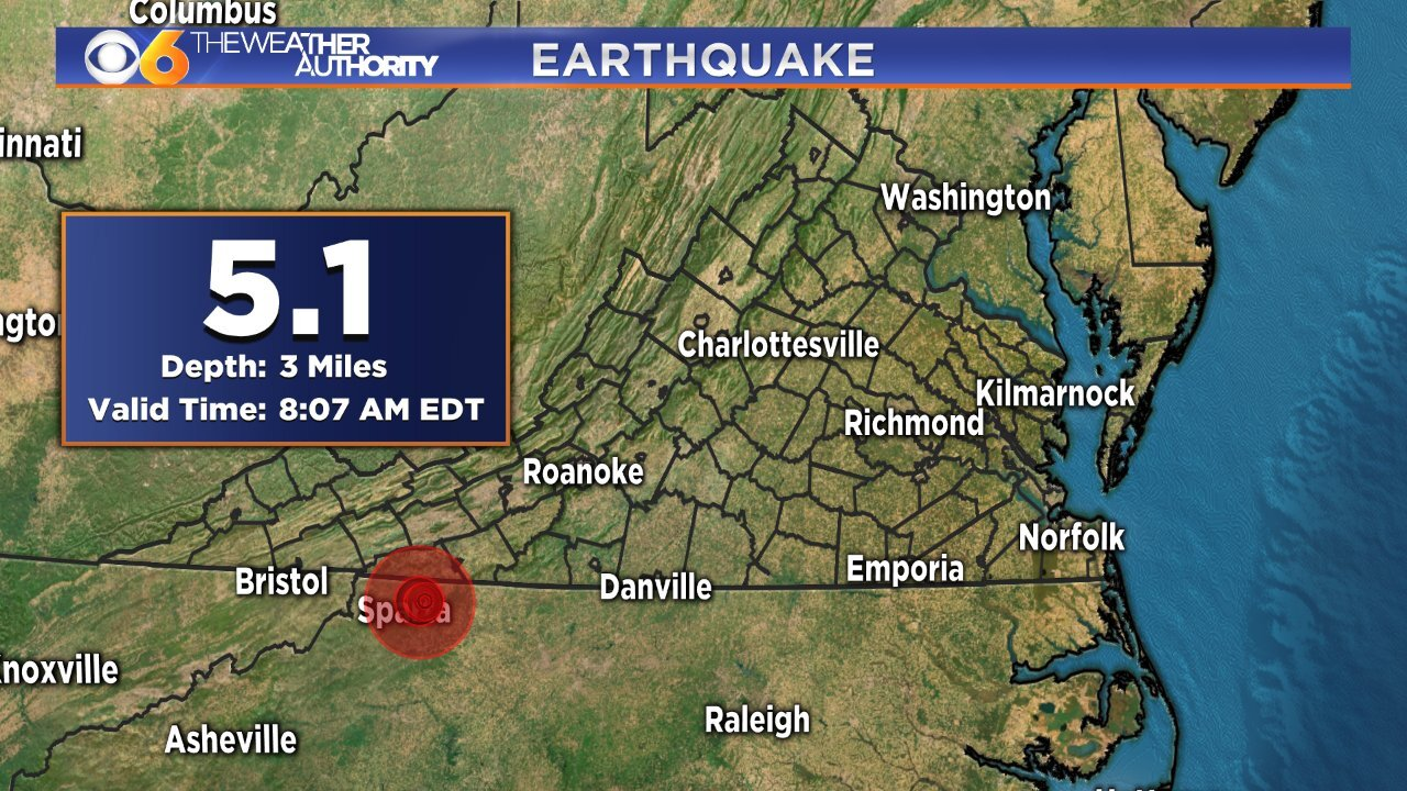 5.1 magnitude earthquake rattles Virginia, North Carolina
