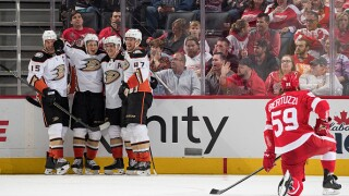 Ducks cool Red Wings hot start