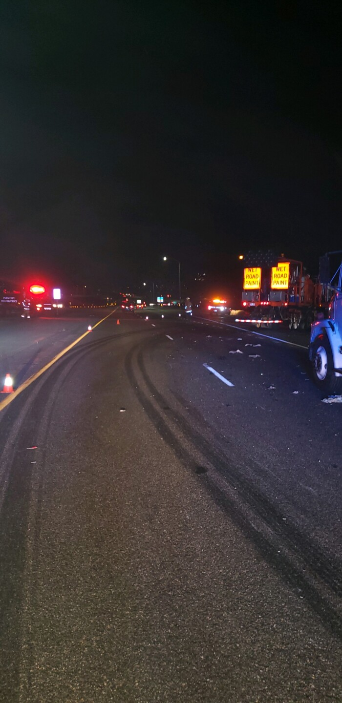 Photos: One in poor condition after semi crashes into attenuator truck protecting paint crew on I-80 in SummitCounty