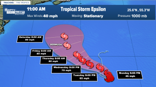Tropical Storm Epsilon forms, expected to strengthen into hurricane