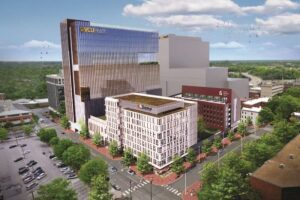 A rendering of the proposed office tower and complex that would replace the Public Safety Building.